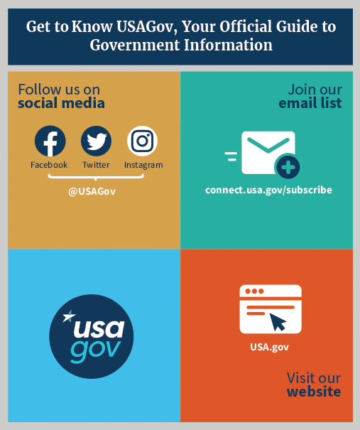 Get to know USAGov via social media, our email list and our website