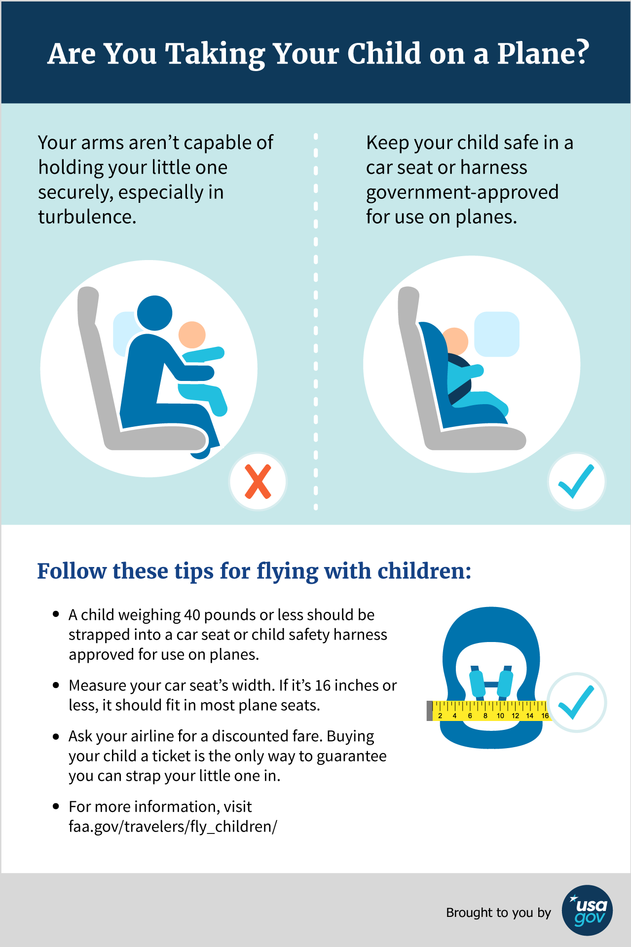 Are You Taking Your Child on a Plane? Description of Infographic below.
