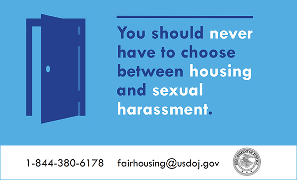 Graphic of housing sexual harassment initiative by department of justice