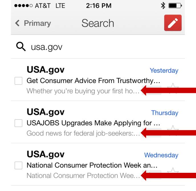 Screenshot of e-mail marketing subject lines